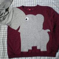 Elephant Trunk sleeve sweatshirt sweater jumper LADIES M Burgundy