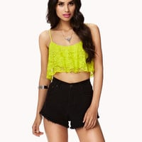 Ruffled Lace Crop Top