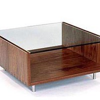 Rowlands Solid Wood Coffee Table with Glass Top | Modern Occasional Tables | Speke Klein