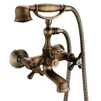 Wall-mount Two Handles Tub Faucet, Antique Brass Finish