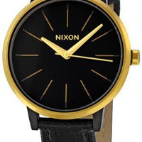 Nixon Kensington Leather Watch - Women's Black/Raw Gold, One Size