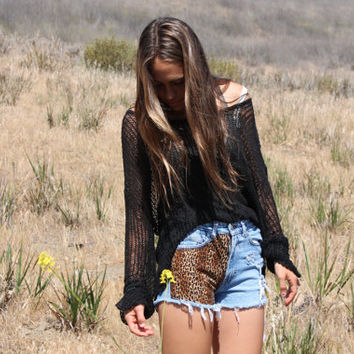HighWaisted Denim Shorts with Leopard by greysonAndCo on Etsy