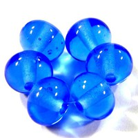 Shiny Transparent Dark Blue Handmade Lampwork Glass Beads Glossy Beads