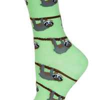 Light Green Sloths Ankle Socks - Topshop USA