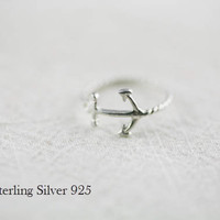 anchor ring in sterling silver size 5  8 by applelatte on Etsy