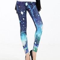 Free Shipping Dark Blue Star Printing LeggingsKB806
