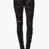 Ripped Skinny Jeans - Black