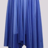 blue romance chiffon skirt with belt
