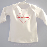 Valentines baby shirt sweetheart red heart long sleeve Embroidered