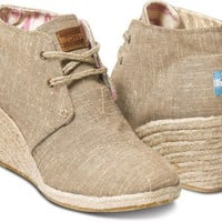 Natural Burlap Women&#x27;s Desert Wedges
