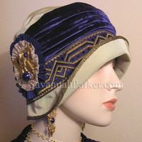 Antique Style Lapis Silk Velvet 1920s Egyptian Revival Deco Flapper Cloche Hat | savannahparker - Accessories on ArtFire