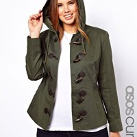 ASOS CURVE Exclusive Duffle Coat With PU Clasps at asos.com