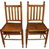 One Kings Lane - A Vintage Marine Mood - Laced-Leather Seat Chairs, Pair
