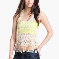 Robin K Crochet Fringe Tank (Juniors) | Nordstrom