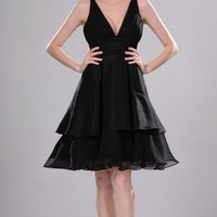 Black A-line Knee-length V-neck Dress [6038476] - $84.00 : dressoutletstore.co.uk, Wedding Dresses Outlet