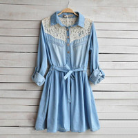 Cowboy dress female splicing sleeve dress in the lace