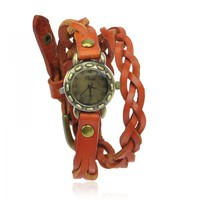 Braided Brown Leather Ropes Wraps Watch