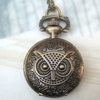 Retro Copper Owl Big Eyes Pocket Watch Necklace Vintage Style - Animal