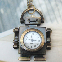 Retro Copper Classic Robot Pocket Watch Necklace Pendant VINTAGE Style - Other