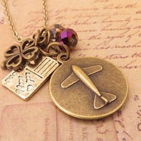 Airplane, clover and postcard. a charm necklace
