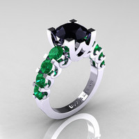 Modern Vintage 14K White Gold 3.0 Carat Black Diamond Emerald Designer Wedding Ring R142-14KWGEMBD