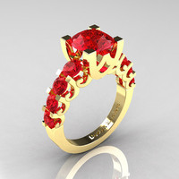 Modern Vintage 14K Yellow Gold 3.0 Carat Rubies Designer Wedding Ring R142-14KYGR