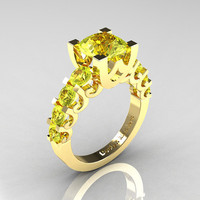 Modern Vintage 18K Yellow Gold 3.0 Carat Yellow Sapphire Designer Wedding Ring R142-18KYGYS