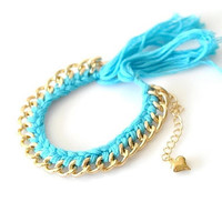 Woven Chain Bracelet - Small - Light Blue