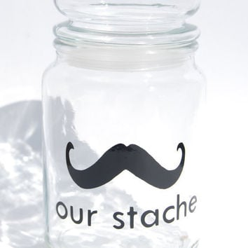 Our Stache jar the Gentleman Mustache Large Glass by lovegracejoy