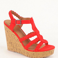 Black Poppy Strap Detailed Cork Wedge Sandals at PacSun.com
