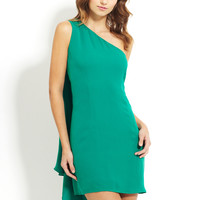 POLECI True Green One-Shoulder Asymmetrical Hem Dress