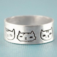 Handmade Gifts | Independent Design | Vintage Goods Cat Heads Ring  - Rings - Jewelry - Girls