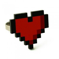 Handmade Gifts | Independent Design | Vintage Goods 8-bit Heart Ring - Rings - Jewelry - Girls