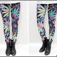 Colorful Weed Printed Leggings