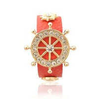 Aesthetic Beauty Anchor Leather Bracelet Red Color