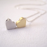 Sterling Silver Necklace With 2 Tiny Hearts - You & Me on Luulla