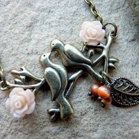 Vintage Style Necklace With Love Birds Pendant | Luulla