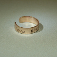 Toe ring in bronze stamped with I love you most by NiciLaskin