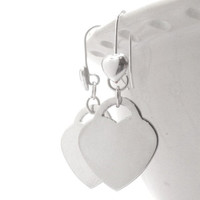 Mothers Day Sale Heart Earrings, Sterling Silver