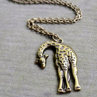Giraffe Necklace - Antique Bronze - Gifts Under 25