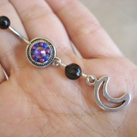 Belly Button Jewelry- Crescent Amethyst Opal Moon Navel Ring Piercing Purple Beaded Bar Barbell