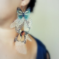 Earth Fluttery Cluster Earring Statement piece SINGLE by jewelera