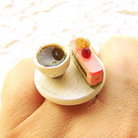 Kawaii Japanese Ring Green Tea And Cake by SouZouCreations on Etsy