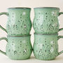 Mediterranean Ceramic Coffee Cup Mug - Set of 4 - Aqua Mist French Country Dinnerware - Hand Thrown OOAK