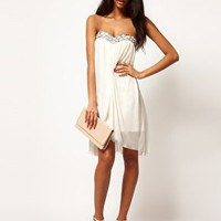 ASOS Strapless Dress In Mesh With Embellished Bust at asos.com
