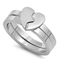 Stainless Steel Puzzles Ring - Hearth - Size : 6