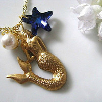 The Little Mermaid Necklace  Bermuda Blue Swarovski by AllureByU