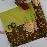 Crochet Hook Roll-Up,  Floral Hook Organizer, Art Roll-Up, Crochet Case