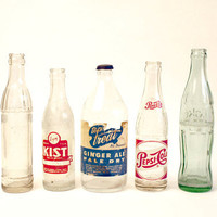 Vintage Soda Bottle Set of Five // Instant Collection