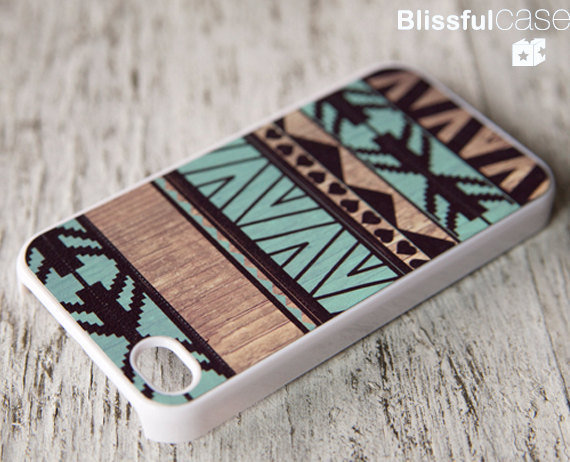iphone 4 case geometric art on wood print mint by BlissfulCASE